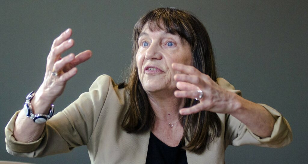 Françoise Canter talks about Augusta poet Robert Nash on Saturday during an event at Lithgow Public Library in Augusta.