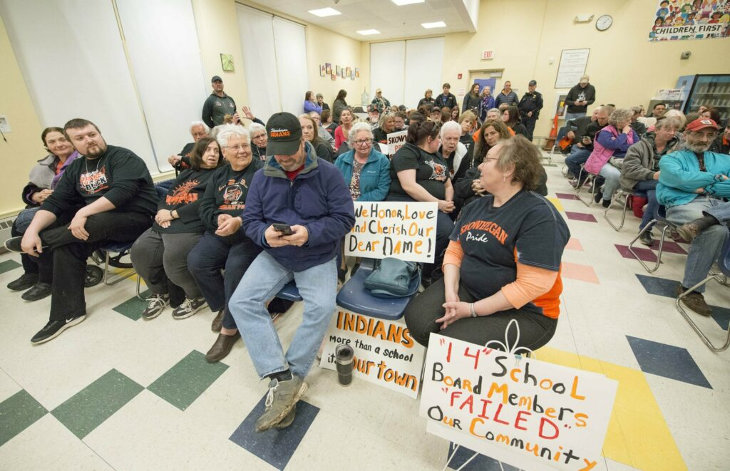 Supporters of the Skowhegan Area High School Indian name fill the cafeteria during a school board meeting at Skowhegan Middle School on Thursday.