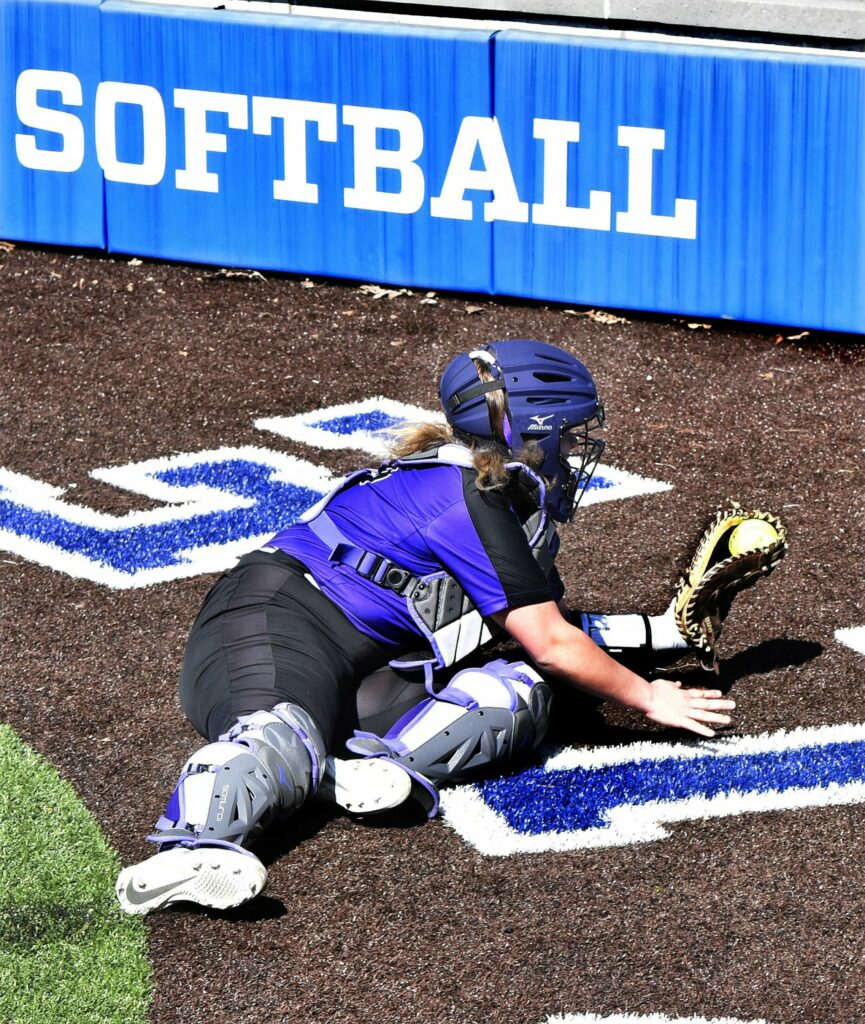 WATERVILLE,  ME-  APRIL 17: Waterville catcher McKayla Nelson catches ball behind home plate during game against Winslow on Wednesday, April 17, 2019. (Morning Sentinel photo by David Leaming/Staff Photographer)