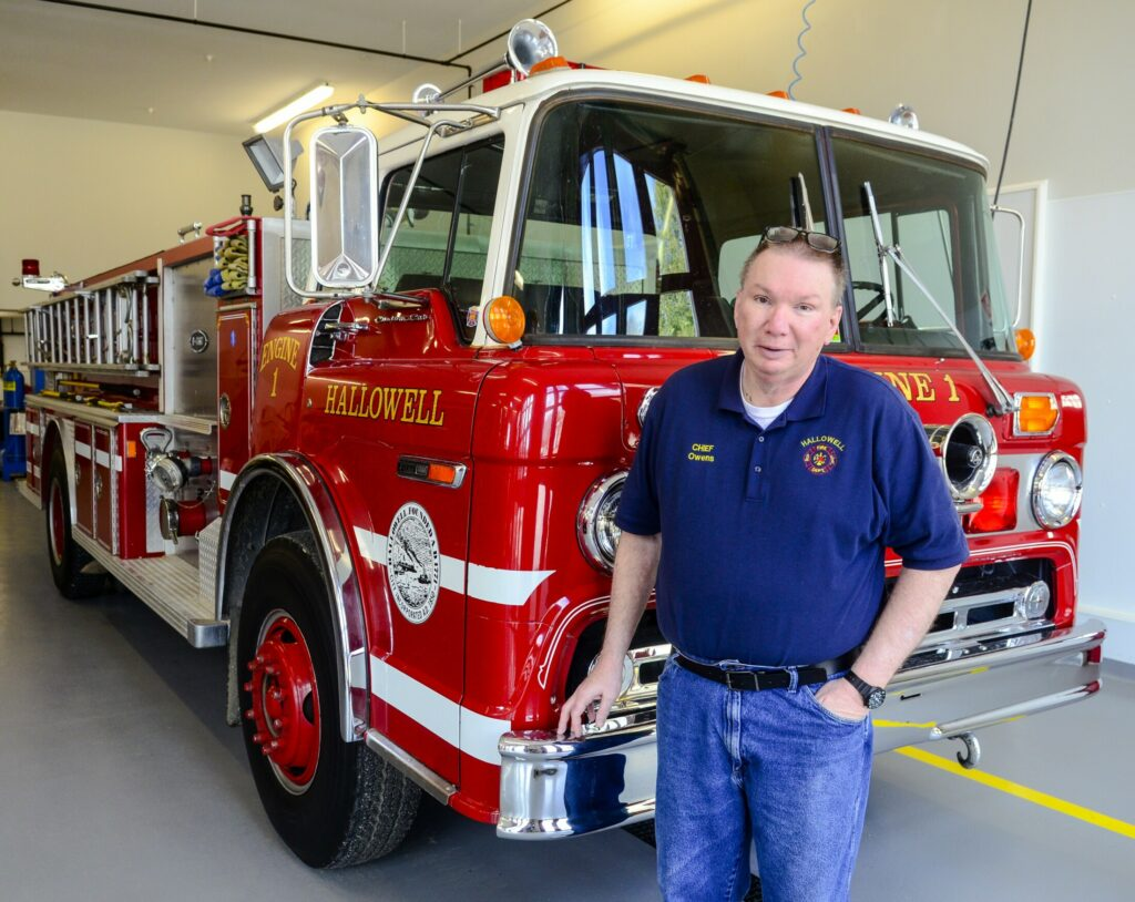 Hallowell Fire Chief James Owens talks about plans to replace Engine 1 on Tuesday at the Hallowell fire station.