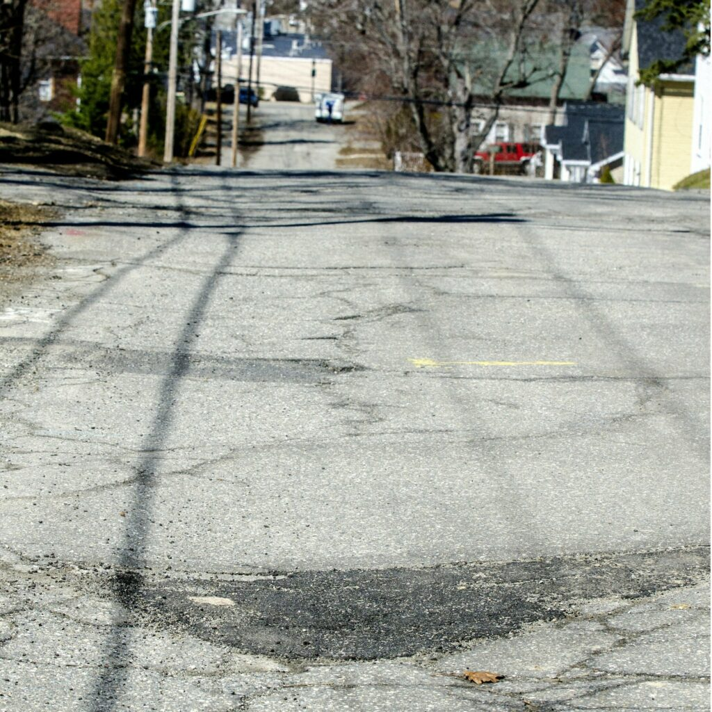 A repaired Murray Street pothole on Wednesday in Augusta.