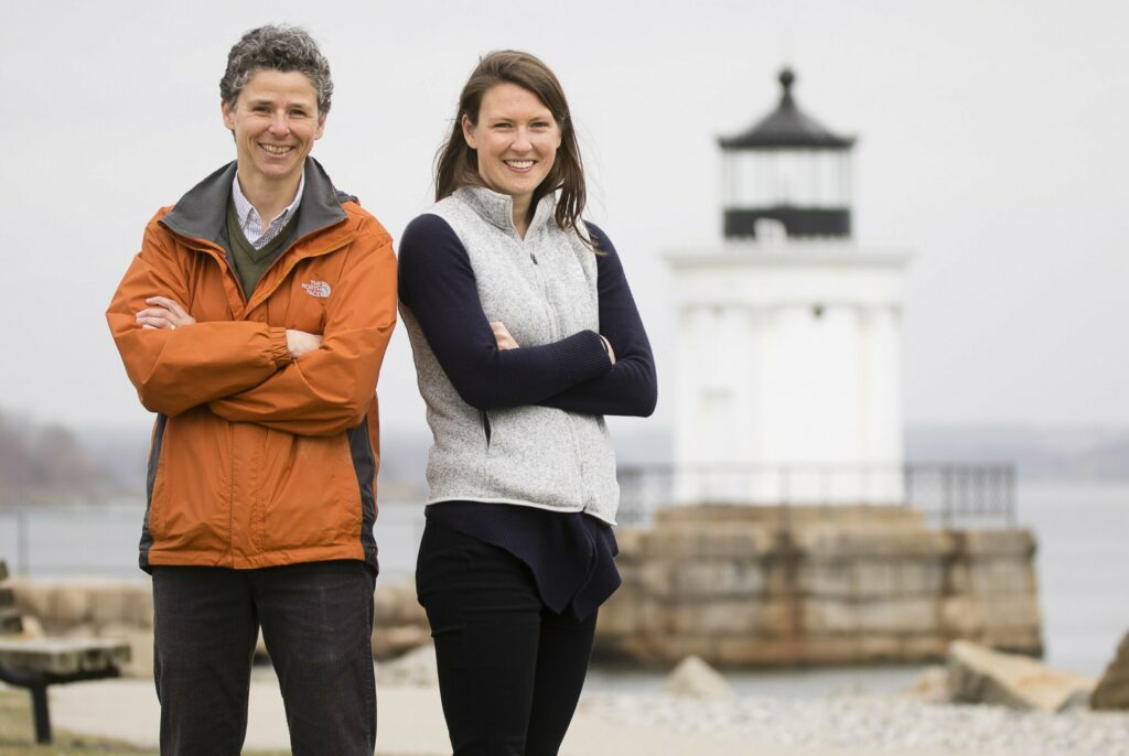 South Portland Sustainability Director Julie Rosenbach  and Sustainability Program Coordinator Lucy Brennan stand in the city's Bug Light Park on Friday, April 19, 2019.