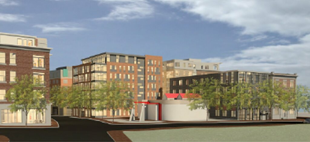 The seven-story Portland Gateway Office Building, shown here at center left, would be built on vacant land near the corner of Fore and India streets. A proposed four-story residential building is shown at right. The shorter white structure between the two proposed buildings is an existing Portland Water District pump station. (Rendering courtesy of David Lloyd, Archetype Architects)