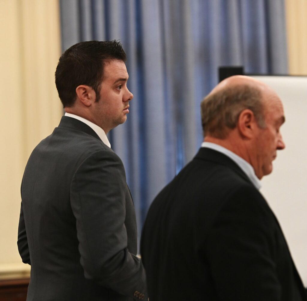 ALFRED, ME - APRIL 19:  Joshua Dall-Leighton, left, stands with his attorney Neal Weinstein during his trial Monday, April 22, 2019. Dall-Leighton is accused of sexually assaulting a female inmate in his charge at the Southern Maine Reentry Center in Alfred. (Staff photo by Shawn Patrick Ouellette/Staff Photographer)