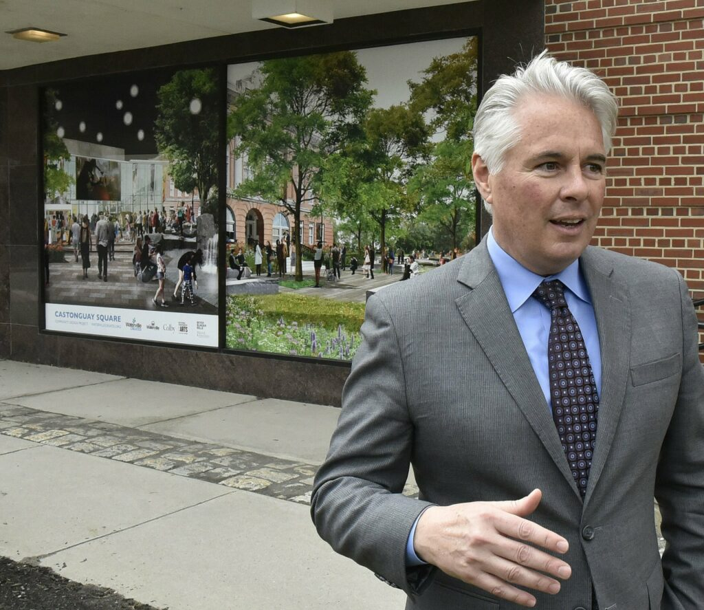 Colby College President David Greene, outside the Center in downtown Waterville on Monday, announced that the facility that will be transformed into a $18-$20 million art and film complex will be named the Paul J. Schupf Art Center after art collector and Colby benefactor Paul J. Schupf.