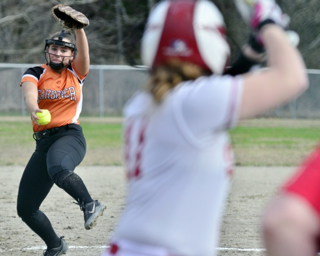 Gardiner pitcher Jillian Bisson delivers to Cony's Alexis Everett on Thursday at Newman Brann Memorial Field in Augusta. Gardiner won the game, 9-4.