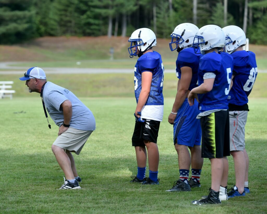 Madison football coach Scott Franzose works through a drill during a 2016 practice in Madison. Franzose is the next football coach at Mt. Blue.