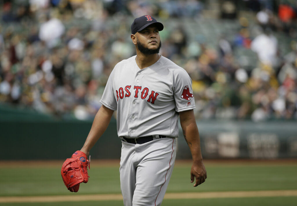 Associated Press/Eric Risberg Boston Red Sox starting pitcher Eduardo Rodriguez walks to the dugout after being removed in the fourth inning against the Oakland Athletics on Thursday. (AP Photo/Eric Risberg)