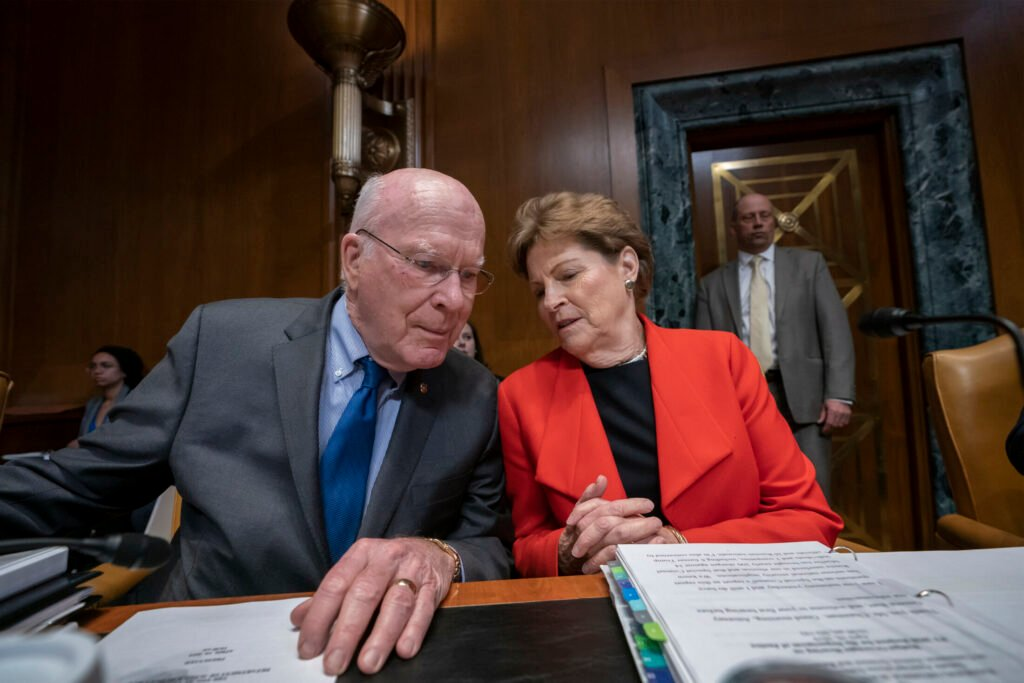 Sen. Patrick Leahy, D-Vt., and Sen. Jeanne Shaheen, D-N.H., on Capitol Hill in 2019. Leahy is among a handful of senators who have voted on the nomination of every current Supreme Court justice, opposing all Republican presidential picks except for Chief Justice John Roberts.