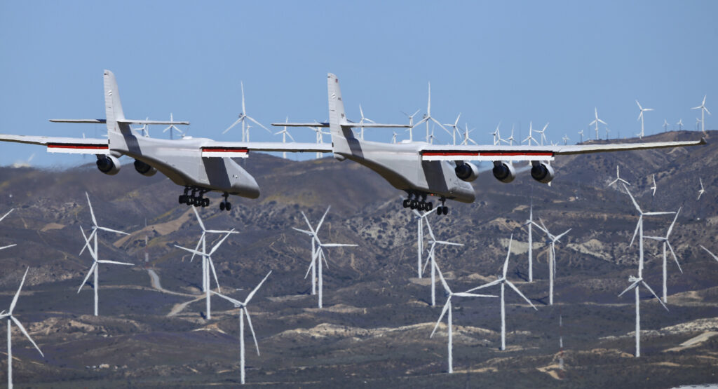 Stratolaunch, a giant six-engine aircraft with the world's longest wingspan, makes its historic first flight from the Mojave Air and Space Port in Mojave, Calif., Saturday. Founded by the late billionaire Paul G. Allen, Stratolaunch is vying to be a contender in the market for air-launching small satellites.