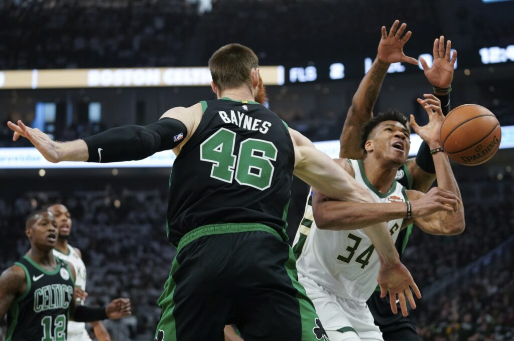 Milwaukee's Giannis Antetokounmpo is fouled during Game 1 of the Bucks' second-round playoff series against the Boston Celtics on Sunday in Milwaukee. Boston won 112-90.