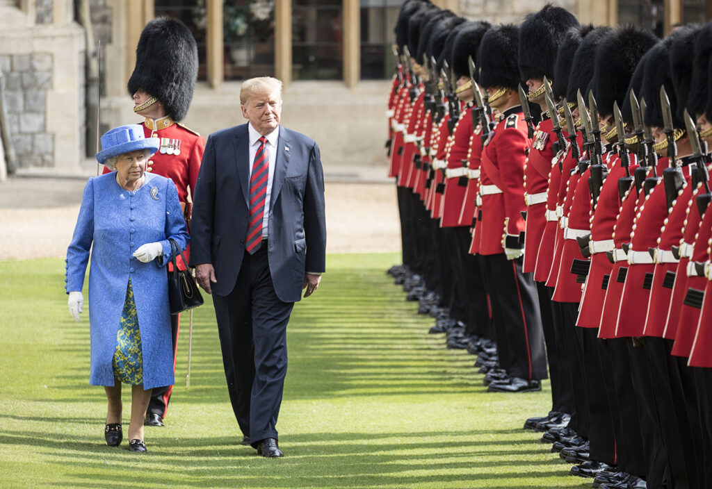 Britain's Queen Elizabeth II and Donald Trump inspect the Guard of Honour, during the president's visit to Windsor Castle in July 2018.