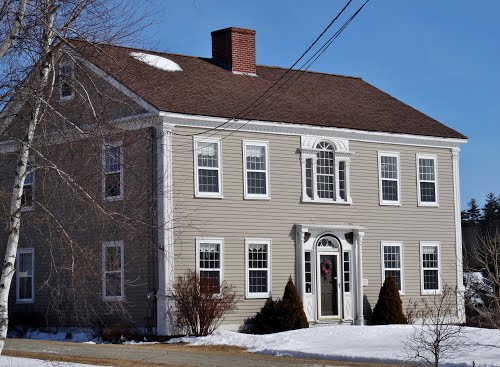 The Dr. Samuel Quimby House on North Road, Mount Vernon. He was the first doctor in Mount Vernon and Quimby Bog was named after him because he owned a shingle and saw mill on its outlet stream for 30 years.