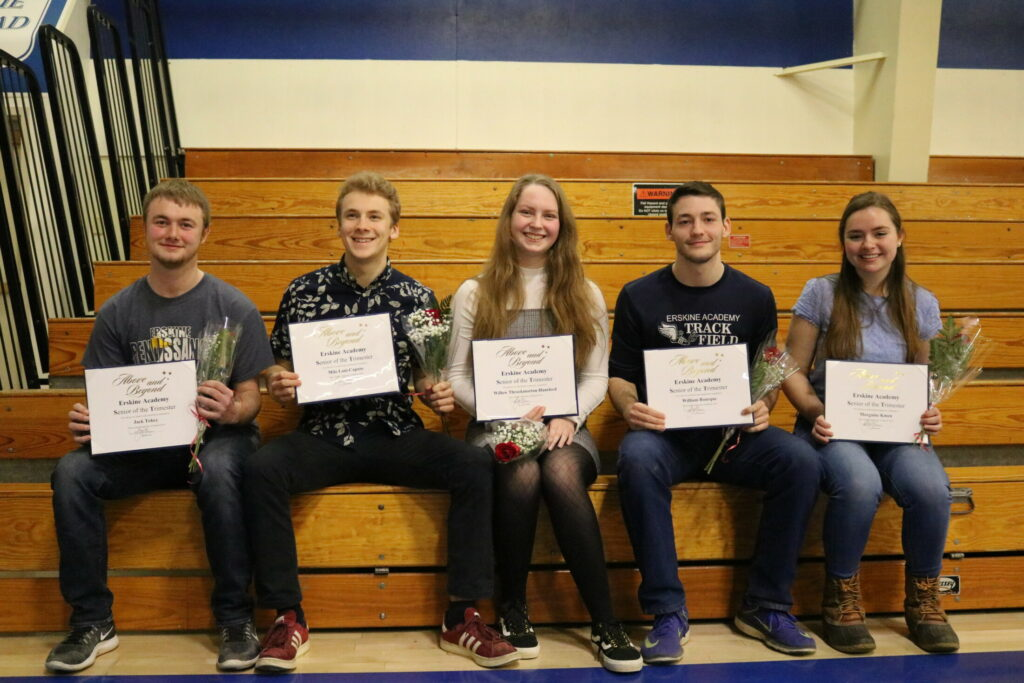 Erskine Academy Seniors of the Trimester from left are Jack Tobey, Milo Lani-Caputo, Willow Throckmorton-Hansford, Will Bourque and Morgaine Kmen
