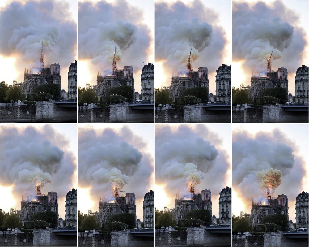 In this combination of photos, flames and smoke rise as the spire on the Notre Dame Cathedral collapses during a fire in Paris on Monday.