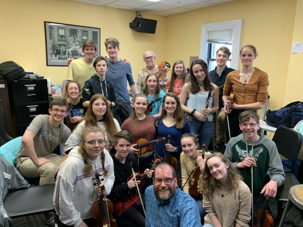 The Franklin County fiddlers visited with world-renown old time Fiddler and Berklee professor, Bruce Molsky at Berklee College of Music, Boston. Front, from left, are  Maize Gordon, Hope Chernesky, Steve Muise, Brynne Robbins, Rachel Spear and Tomas Cundick. Second row rom left are Clay McCarthy, Shaylynn Koban, Alex McCauley and Chelsea Seabold. Third row from left are  Kahryn Cullenberg, Auley Romanyshynn, Sam Judkins, Maeve Hickey and Emma Charles. Back, from left, are  Aubrey Hoes, Colby Sennick, Berklee Professor Bruce Molsky, Makenzie Seaward and Zack Gunther.