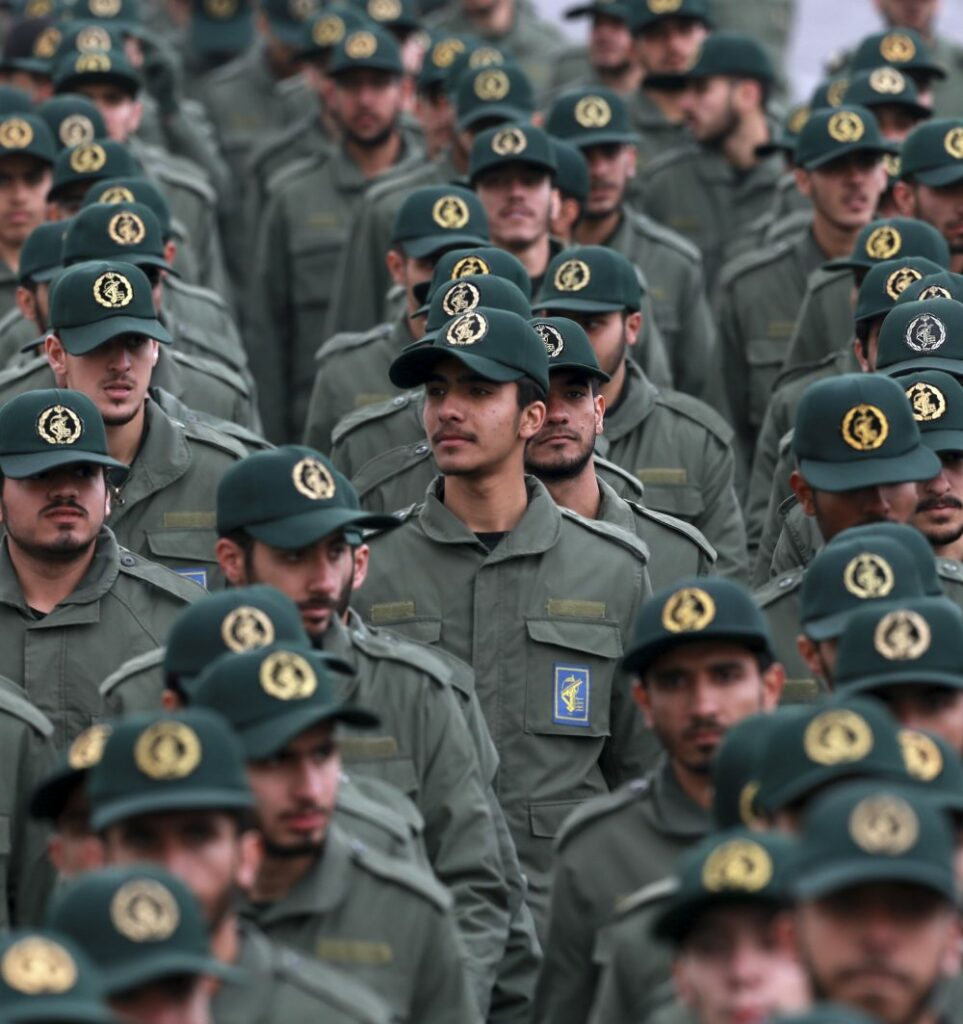 "In this Feb. 11, 2019, file photo, Iranian Revolutionary Guard members attend a ceremony celebrating the 40th anniversary of the Islamic Revolution, at the Azadi, or Freedom, Square in Tehran, Iran. On Monday, April 8, 2019, the Trump administration designated Iran's Revolutionary Guard a ""foreign terrorist organization"" in an unprecedented move against a national armed force. Iran's Revolutionary Guard Corps went from being a domestic security force with origins in the 1979 Islamic Revolution to a transnational fighting force."