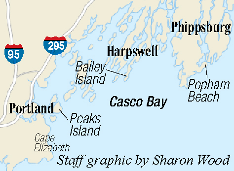 Casco Bay islands and points of land elongated northeasterly, from Cape Elizabeth to Bailey Island.