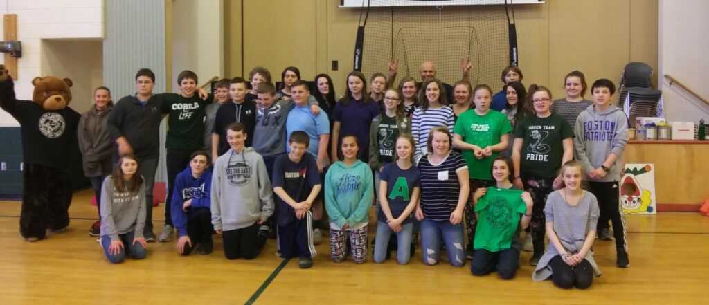 "Carrabec Community School eighth-grade students, kneeling from left,are Autumn Ladd, Zach Cary, Beau Mergist, Andrew Rowe, Jessica Benedict, Faith Willette, Twyla Carpenter, Brian Evans . Kalie Madore. Middle row from left are Trinity Norton, Josiah Wyman, Luke Carey, Connor Peabody, Tristan Dodge, Sumner Taylor, Josh Mercier, Lindsay Hamilton, Isabelle Slate, Lacie Dicky, Sage Bertone, Kaitie Junkins and Caden Hopkins. Back from left are Bobby Lindblom, Harold Heath, Cheyenne Grover, Hunter Sousa, Caitlin Oliver, ""Mad Louie"" aka Louis Moniz, Shelby Arsenault, Zeb Burnham, Makenzie Dodge and Gabby Manzer."
