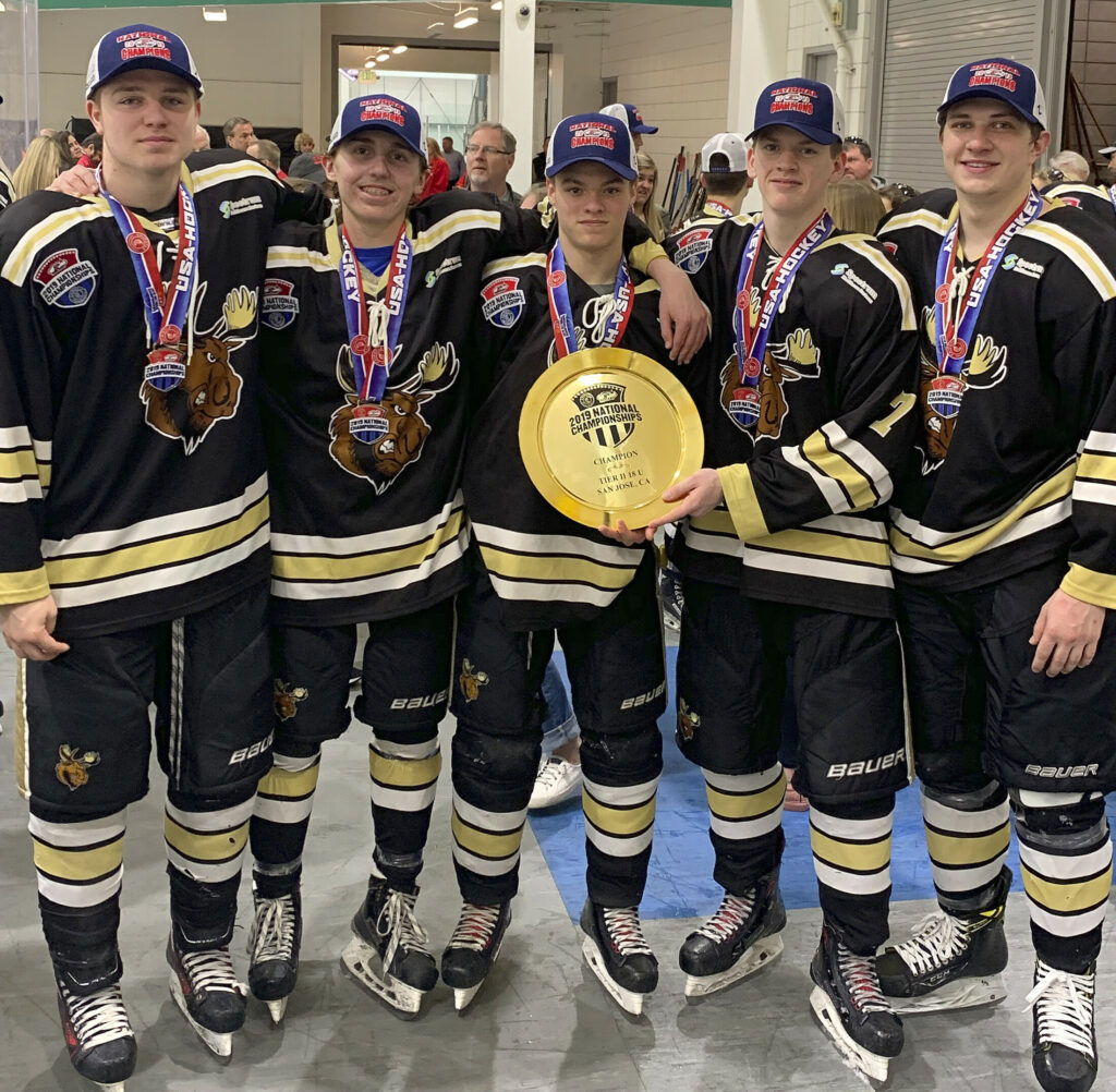 Central Maine members of the national championship-winning Maine Moose U18 hockey team included, from left to rigth, Joe Clark of West Gardiner, Dylan Cunningham of Oakland, Zach Whitney of Chelsea, Matt Poirier of Gardiner and Warren Karlberg of Gardiner. The team won its third straight U18 USA Hockey Tier II national championship on Monday in San Jose, California.