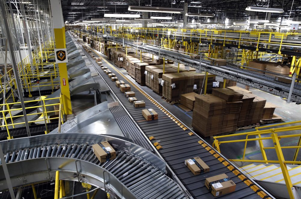 Packages on a conveyor system at an Amazon fulfillment center in Baltimore in 2017.