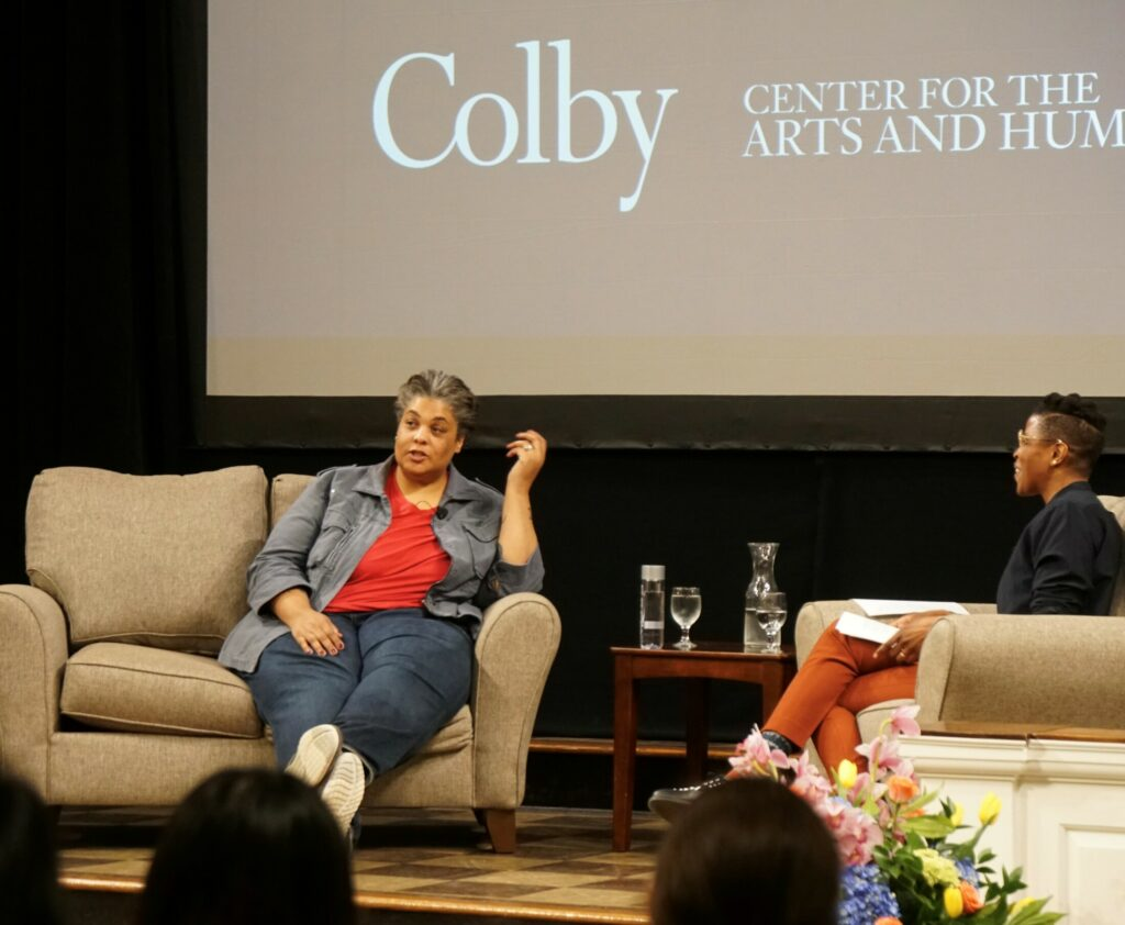 Roxane Gay speaks at the Colby College's Center for the Arts and Humanities on Tuesday.