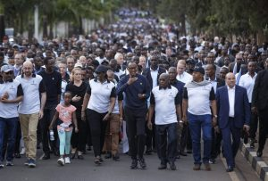 Paul Kagame, Jeannette Kagame, Abiy Ahmed, Charles Michel, Herve Berville, Julie Payette