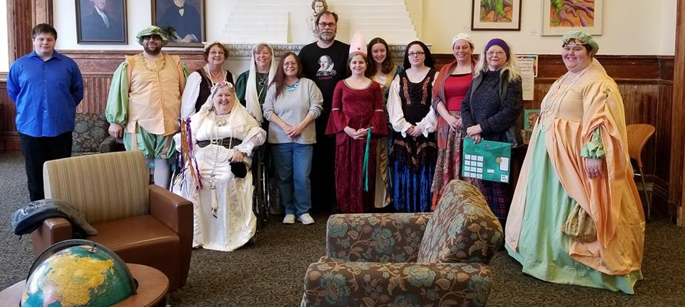 Recycled Shakespeare Company members and participants of last year's Bard's Birthday Bash at the Waterville Public Library. From left are Joseph Page, Joshua Fournier, Susan Webber, Lyn Rowden, Debra Achorn, Lynda Lemar, Raymond Wing, Helena Page, Teya Bard, Katie Howes, Shana Page, Shirleyanne Ratajczak and Emily Rowden Fournier.