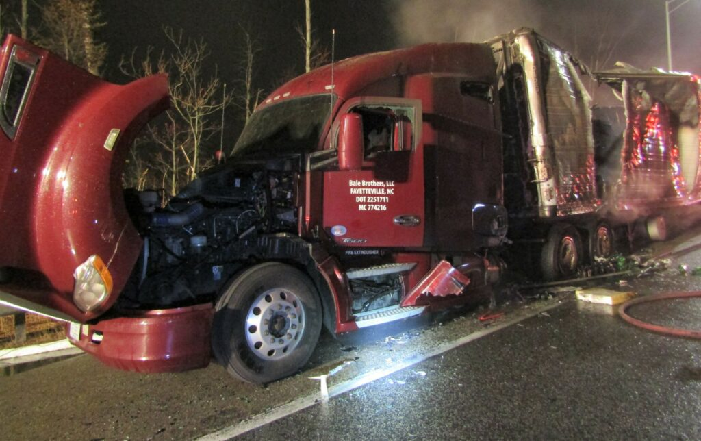 A truck hauling Coca-Cola products was destroyed by fire on the Maine Turnpike in Kennebunk.