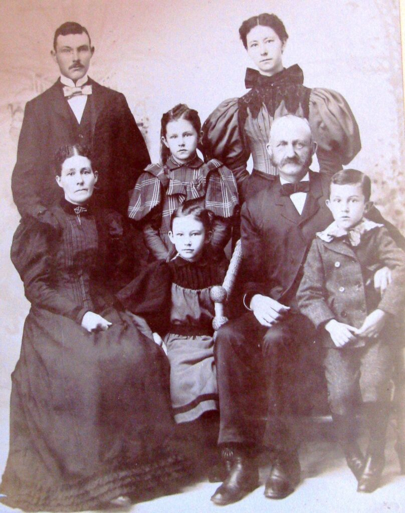 Sewall Hawes and his family owned a farm on Walker Road in Readfield that was established by his maternal great-grandfather Thaddeus Richardson in 1802. The farm remained in the Richardson-Hawes family until 1922 and their road was named in honor of the Hawes family for most of that time and well beyond. Front from left are mother Carrie Hawes, daughter Isadore, father Sewall Hawes and son Lawrence. Back, from left, are son Llewellyn, and daughters Alice and Sadie.