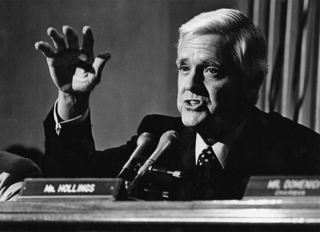 "Ernest F. ""Fritz"" Hollings in 1982. Known for his attempts to balance the federal budget and for his sharp, often caustic tongue, Hollings died Saturday. He was 97."