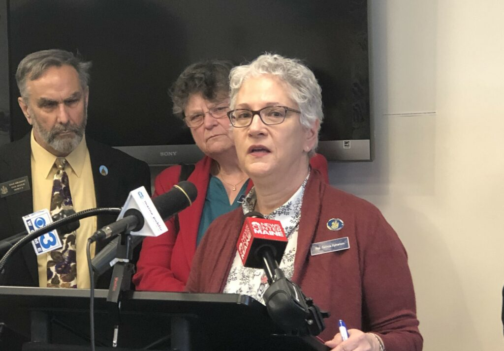 Rep. Patricia Hymanson, D-York, speaks during a news conference Monday about a bill she's sponsoring that would allow terminally ill patients to end their own lives with a fatal dose of medication.