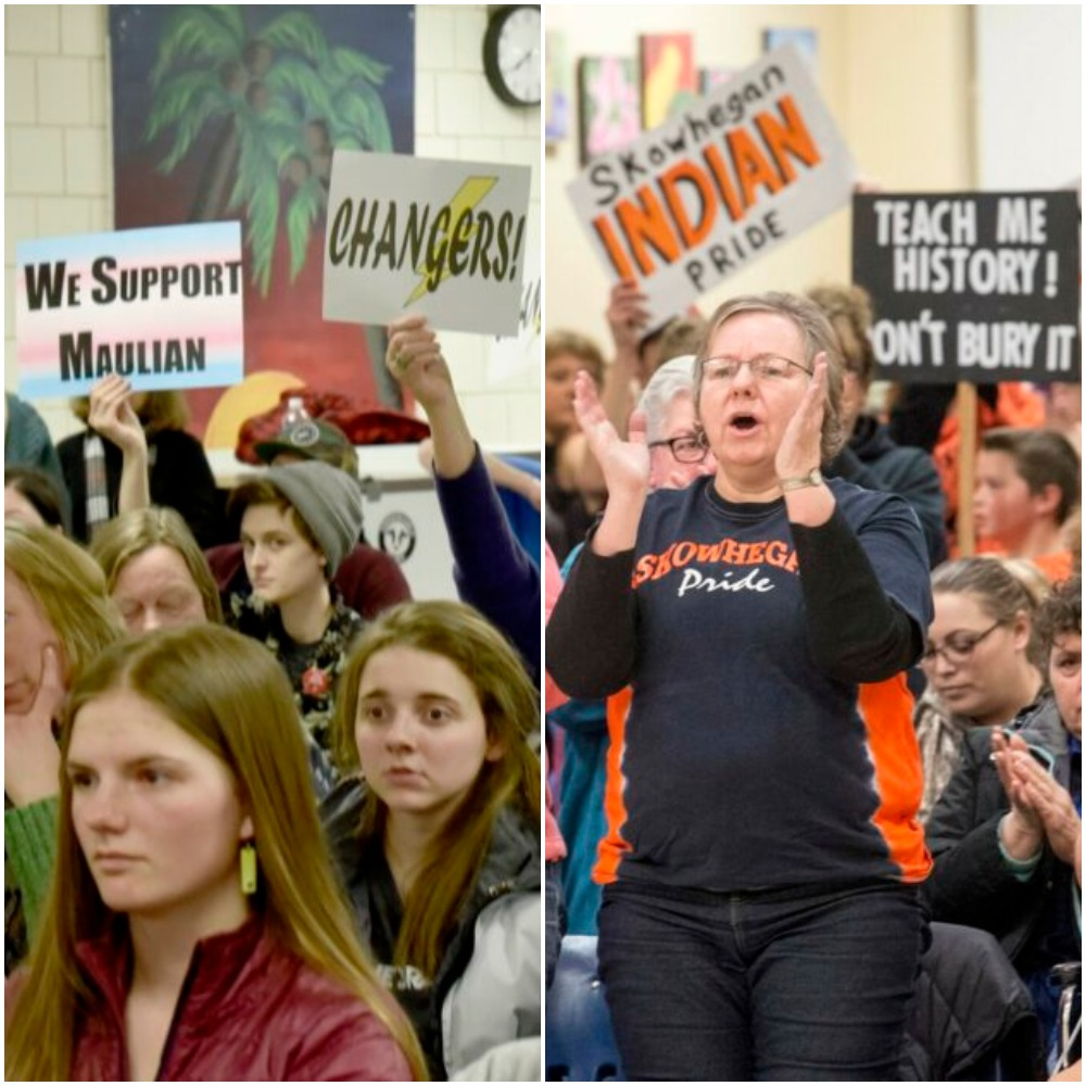 """At left, people against the use of the """"Indians"""" nickname in School Administrative District 54 schools hold signs March 7 urging school board members to vote to stop the practice during a meeting in Skowhegan. At right, supporters of keeping the Skowhegan Area High School """"Indians"""" nickname rally March 22 at a school board meeting at Skowhegan Area Middle School."""