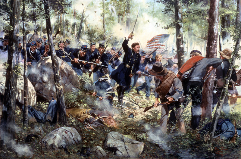 """Bayonet - July 2, 1863,"" a painting by American historical artist Don Troiani, depicts the 20th Maine Regiment at Little Round Top in Gettysburg, Pa. With his men running out of ammunition, Col. Joshua Chamberlain leads a bayonet charge during the three-day battle, generally considered the turning point in the American Civil War. This week marks the battle's 150th anniversary."
