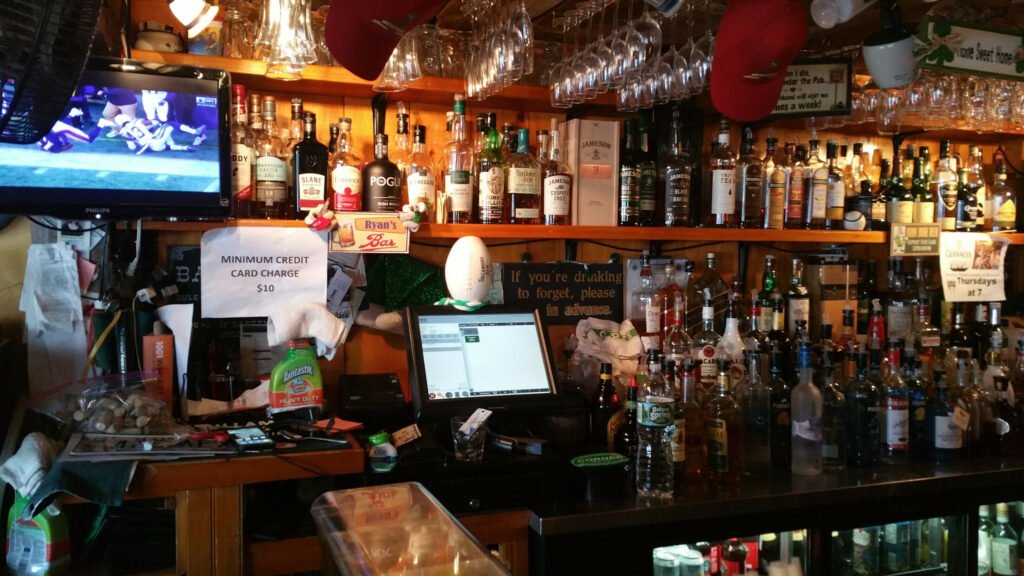 The bar at Ryan's Corner House includes a huge selection of whiskey.