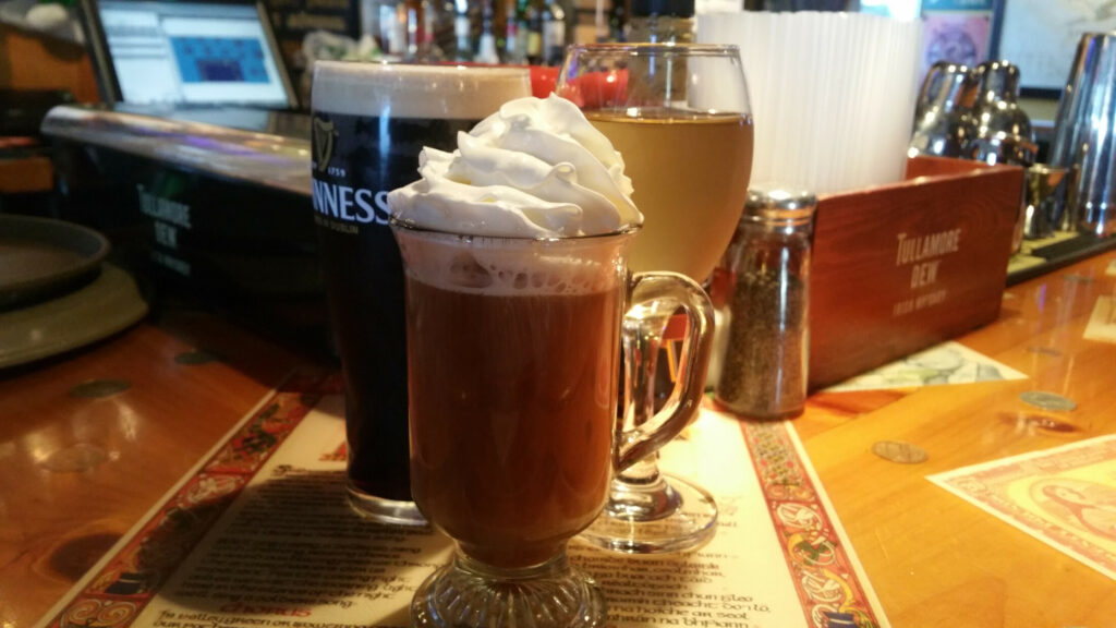 A Guinness, an Irish coffee and a glass of white wine at Ryan's Corner House.