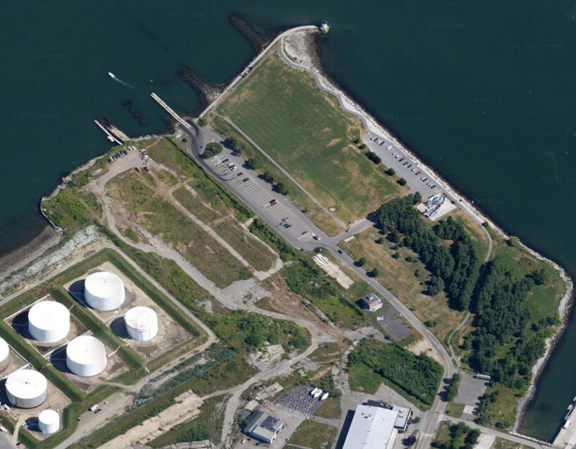 L+R Northpoint, a holding company of PK Realty Management, owns 30 acres of former shipyard property in South Portland. In this 2014 file photo, a portion of the property appears just above and to the right of the oil tanks. Bug Light Park is at top in photo.
