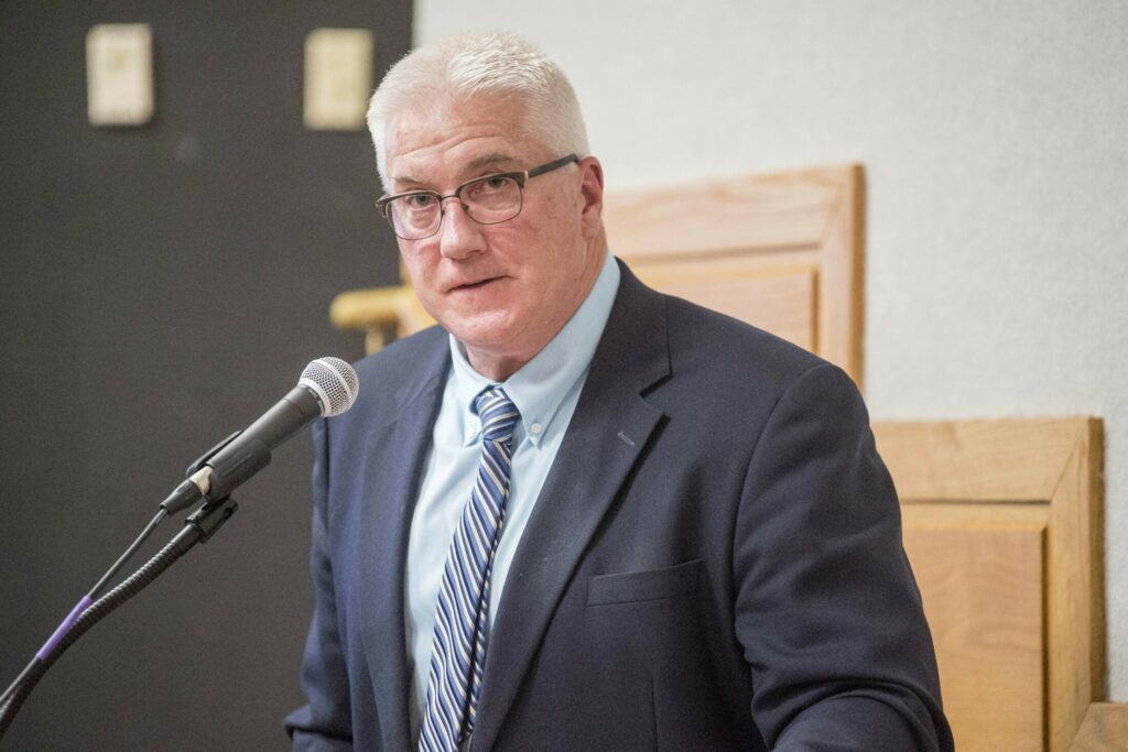 Superintendent Peter Thiboutot, seen here in May 2018, reviewed the draft plan for Winslow schools in the upcoming school year with the Town Council on Tuesday.