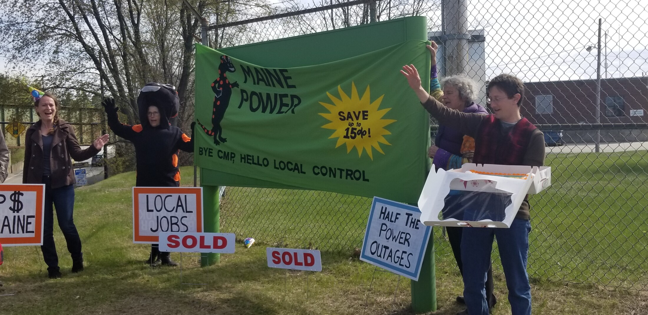 Activists hold 'Goodbye CMP' party in Lewiston