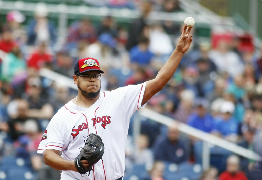 Dedgar Jimenez pitched six innings, allowing five hits and two runs, while striking out five and walking two as the Portland Sea Dogs beat the Binghamton Rumble Ponies 4-2 in the first game of a doubleheader on Sunday at Hadlock Field.