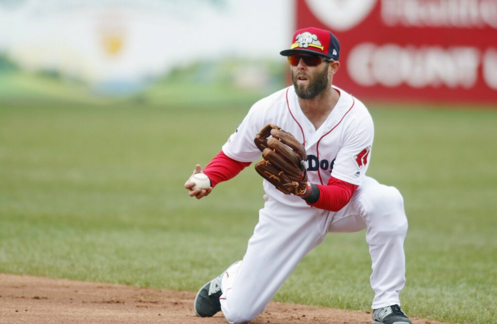 PORTLAND, ME - MAY 5: Dustin Pedroia prepares to throw to first for the last out in the second inning while on rehab assignment with the Portland Sea Dogs. Sea Dogs vs. Binghamton Rumble Ponies at Hadlock Field.
