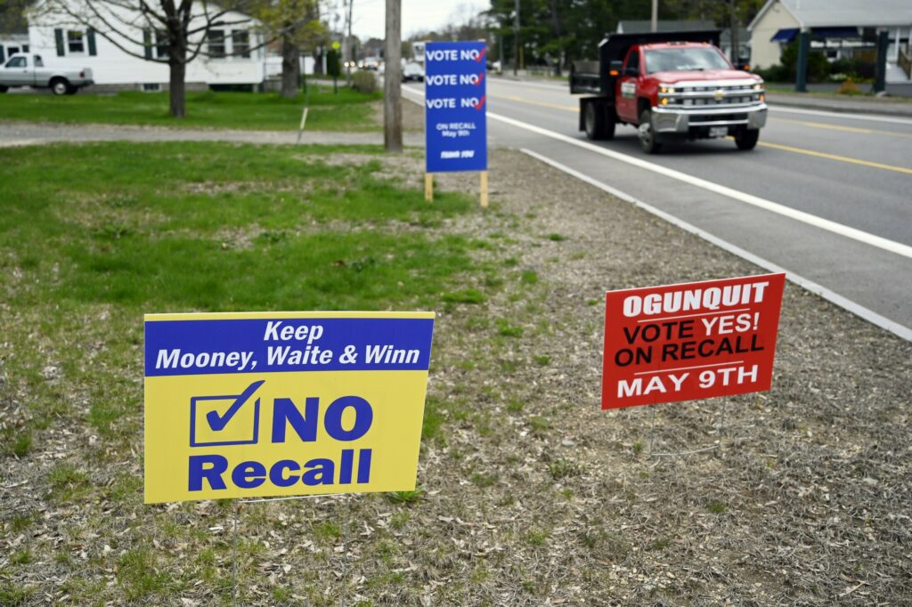 Campaign signs reflected tension in the community of Ogunquit during a recall campaign in May 2019.