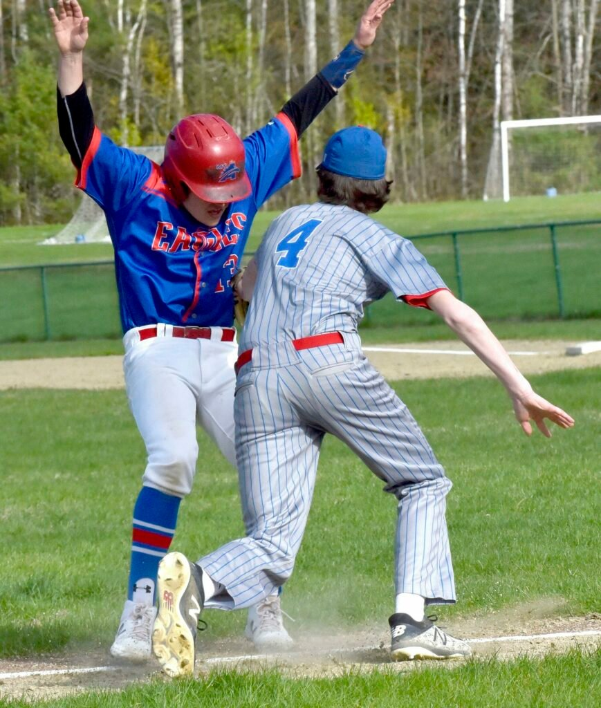 Messalonskee infielder James Smith tags Mt. Ararat's Trey Booty during Kennebec Valley Athletic Conference Class A game Monday.