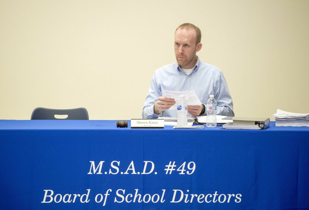 Shawn Knox, SAD 49 school board chair, at a May meeting at Lawrence Junior High School, announced the hiring of an interim superintendent and high school principal recently.