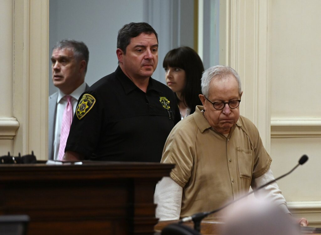 Ronald Paquin enters York County Superior Court in Alfred on May 24, 2019. He was sentenced to spend 16 years in prison for abusing a young boy on trips to Maine in the 1980s.