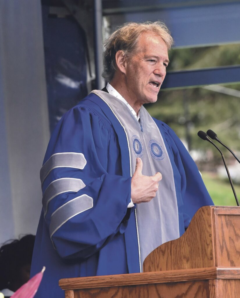 Colby College commencement speaker and TV writer-producer David Kelley addresses graduates Sunday during the 198th Colby commencement in Waterville.