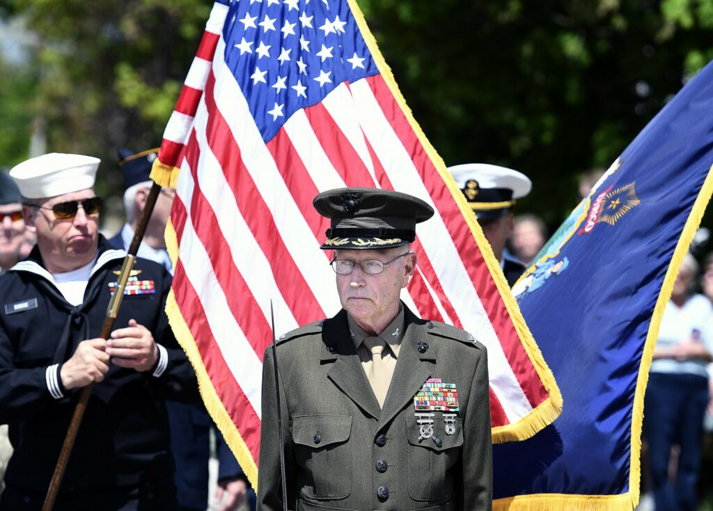Veterans parade through town Monday during the Memorial Day parade in Wayne.