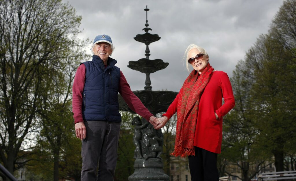 PORTLAND, ME - MAY 24: Frank and Sharon Reilly pose for a portrait in front of the fountain within Portland's historic Lincoln Park. The couple has raised significant funding for the park. (Staff photo by Ben McCanna/Staff Photographer)