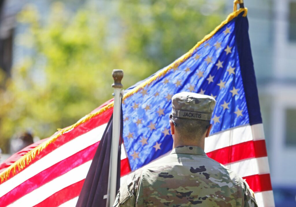 WESTBROOK, ME - MAY 27: National Guardsman Ryan Jackitis of 262 Engineer Co. stands at attention during Memorial Day ceremonies at Riverbank Park. (Staff photo by Jill Brady/Staff Photographer.)