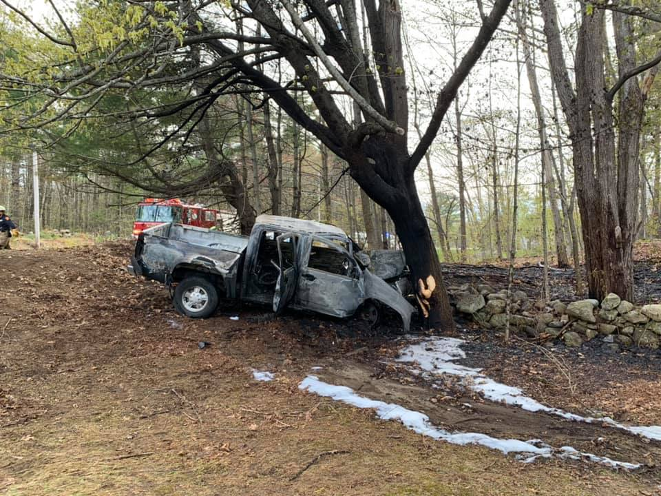 Augusta Deputy Fire Chief Dave Groder credited Timothy and Margaret Haskell, of Augusta, with saving the life of the driver of this pickup truck, 39-year-old Christopher Booher, of South China. The truck crashed Monday evening in front of the couple's North Belfast Avenue home. The driver was listed in critical condition Tuesday morning at Maine Medical Center in Portland.